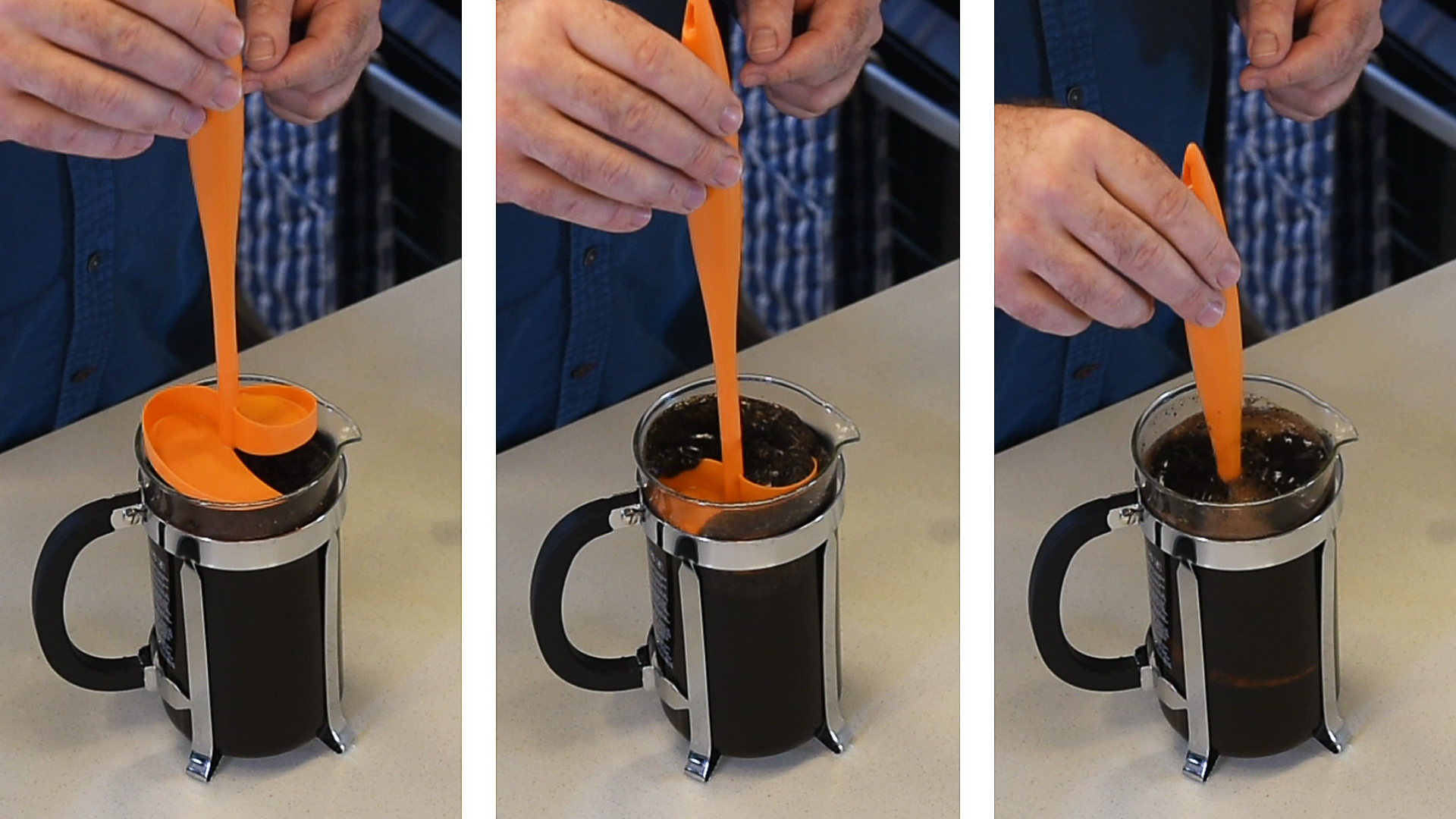 Showing the ease of stirring cafetiere coffee with Scoof in three pictures